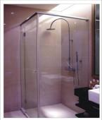 L字型簡框淋浴拉門-強化玻璃